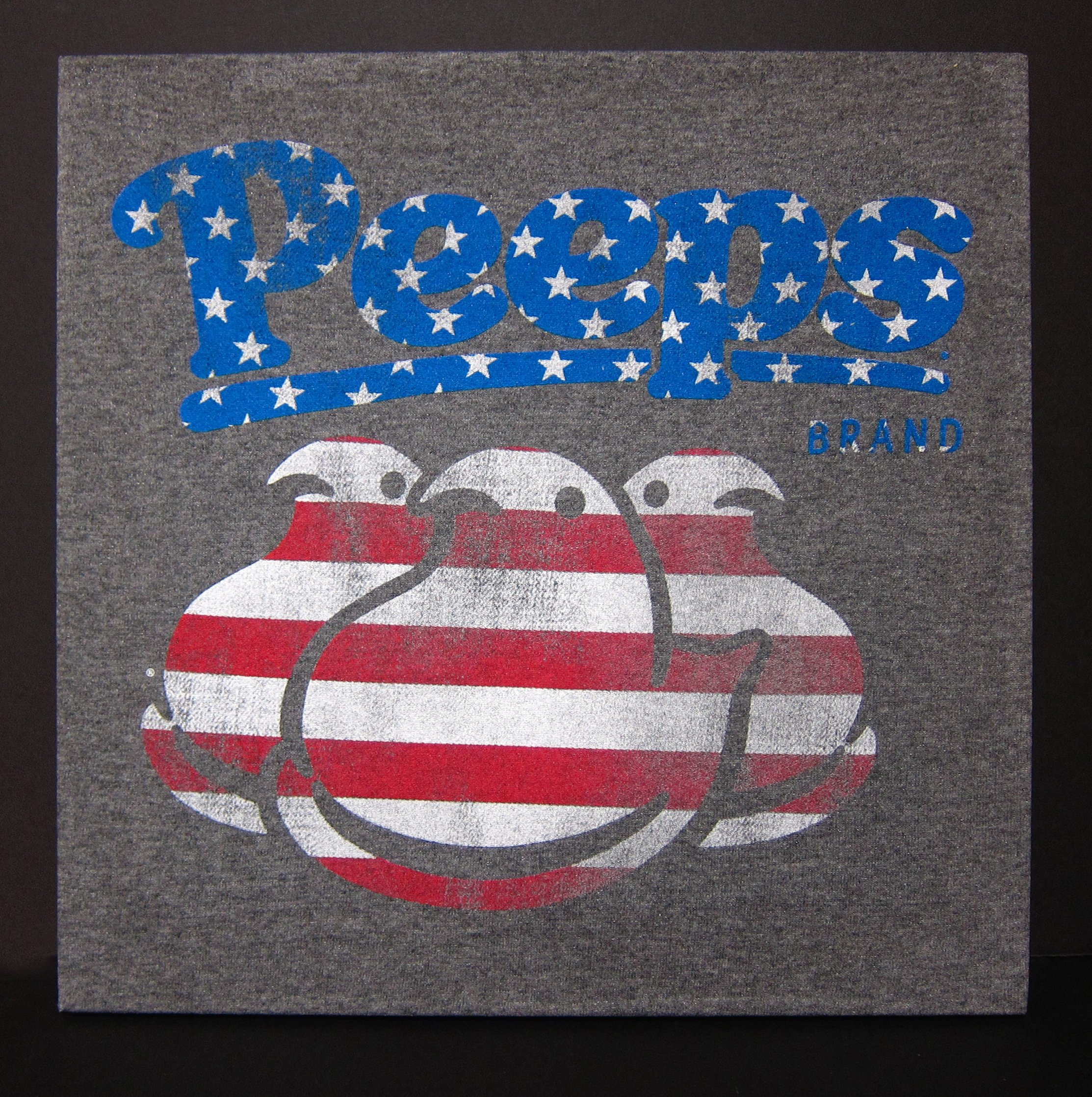 Retro style Peeps T-shirt Upcycled to make a one of a kind wall hanging! America's favorite Easter candy in the stars and stripes. Peeps!