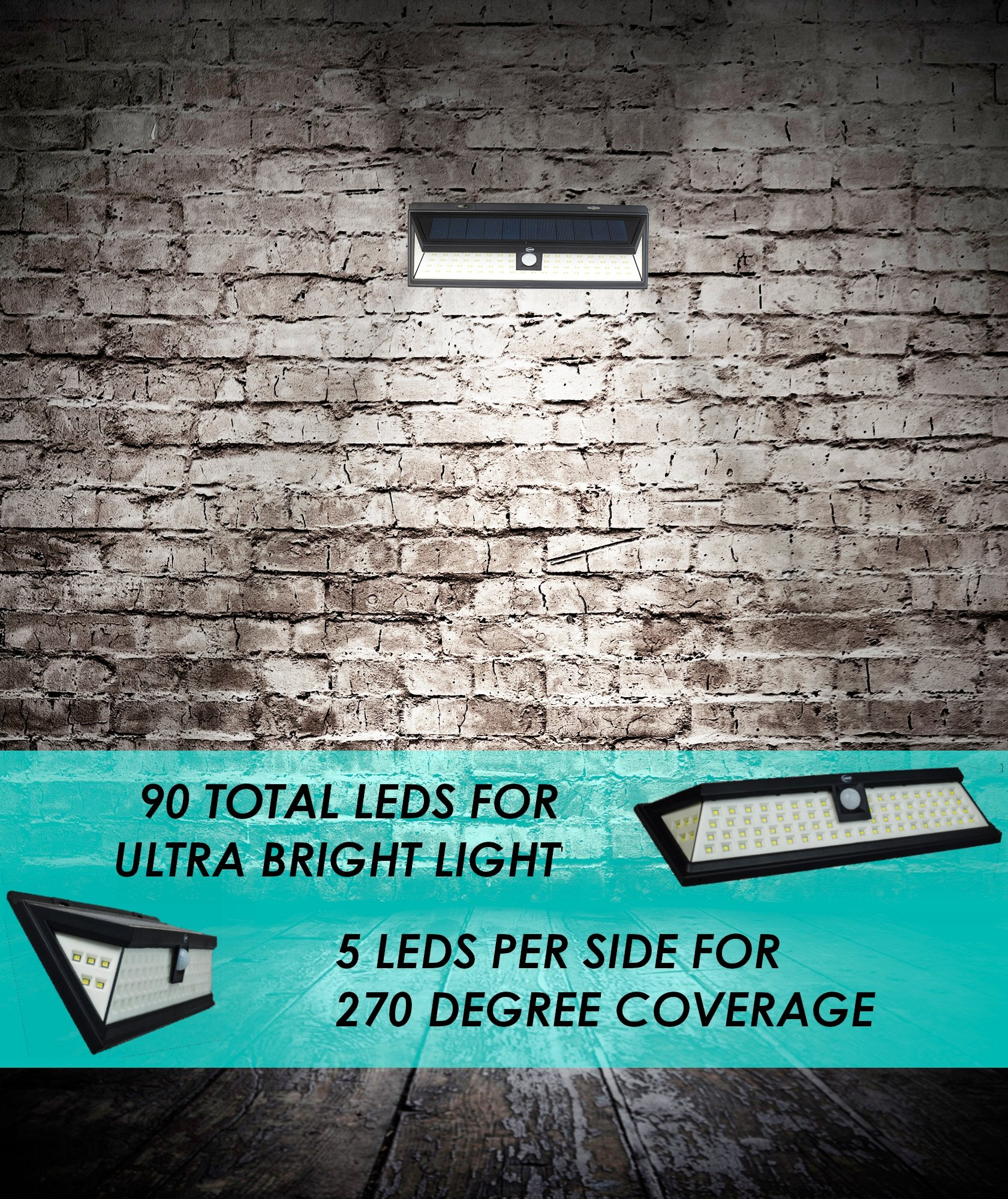 UMR 90 LED Solar Security Light - New 2018 Motion Sensor Outdoor Lighting w 5 LEDs Per Side, Dusk to Dawn Detector, Wireless Battery Power is Ultra-Bright for Exterior Outside Driveway Yard Patio Deck by UMR (Image #3)