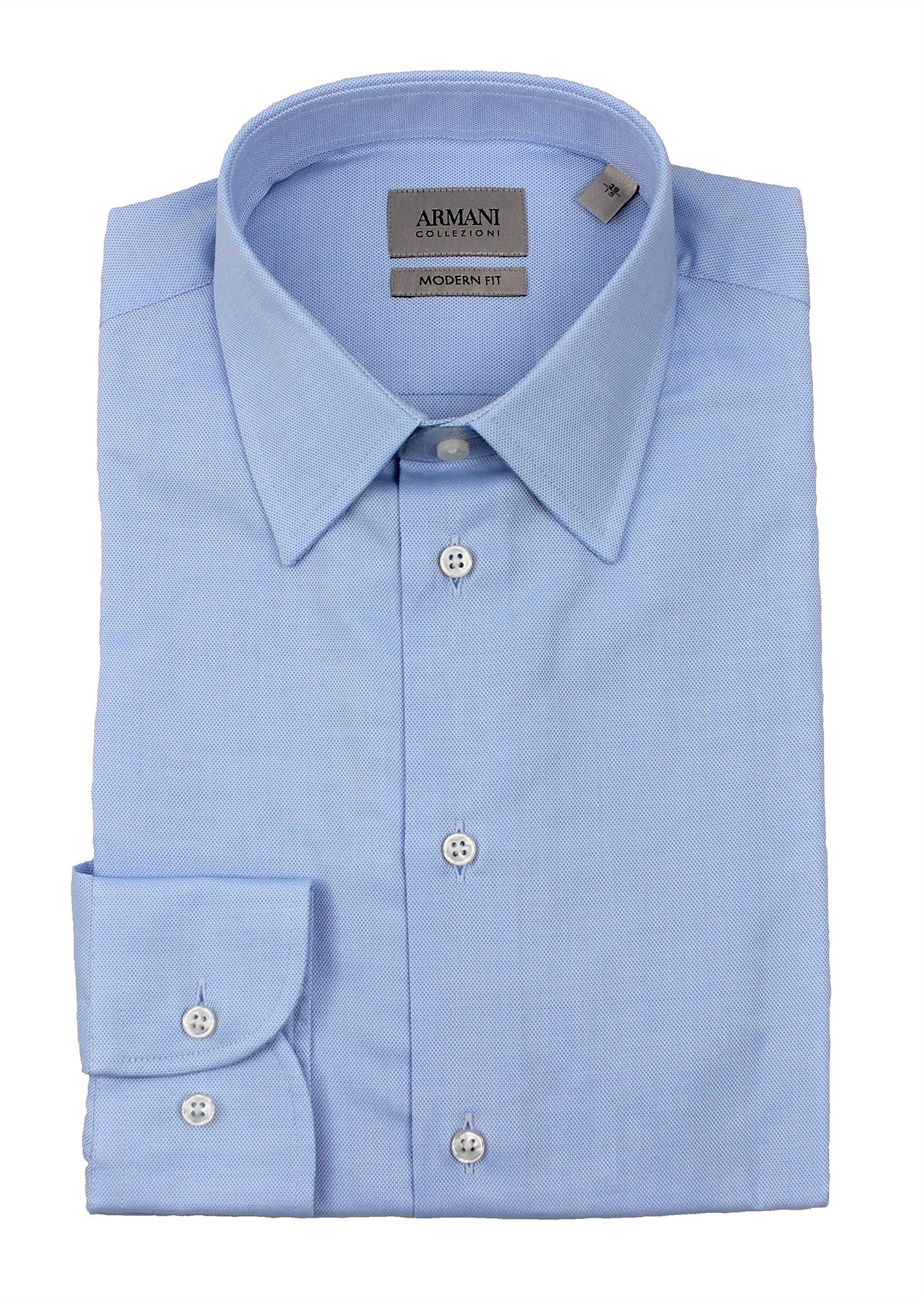 Armani Collezioni Men's Cotton Dress Shirt Modern Fit Blue VCCM5L VC37C 700 (USA15.5/EURO39)