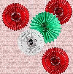 EinsSein 5er Mix Dekofächer Rotflaum Papierfächer Papierblume Pom Poms Papierrosette Dekoration