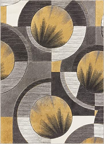 Well Woven Sunburst Gold, Light Grey, Charcoal Modern 8×10 8×11 7 10 x 9 10 Geometric Comfy Casual Hand Carved Area Rug Easy to Clean Stain Fade Resistant Abstract Contemporary Thick Soft Plush