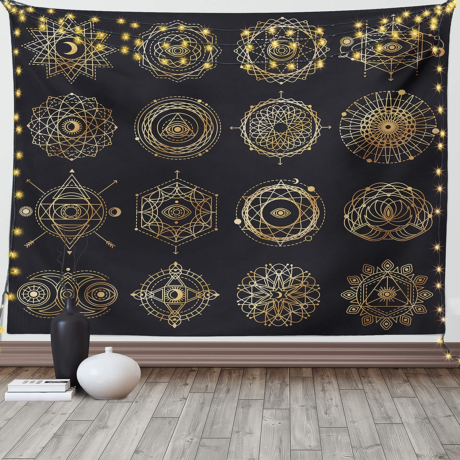 Lunarable Sun and Moon Tapestry Queen Size, Geometry Forms Boho Round Mandala Motifs Occult Alchemy, Wall Hanging Bedspread Bed Cover Wall Decor, 88