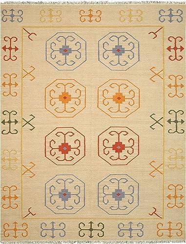 EORC OSK1IV Handmade Wool Reversible Suzani Kilim Rug