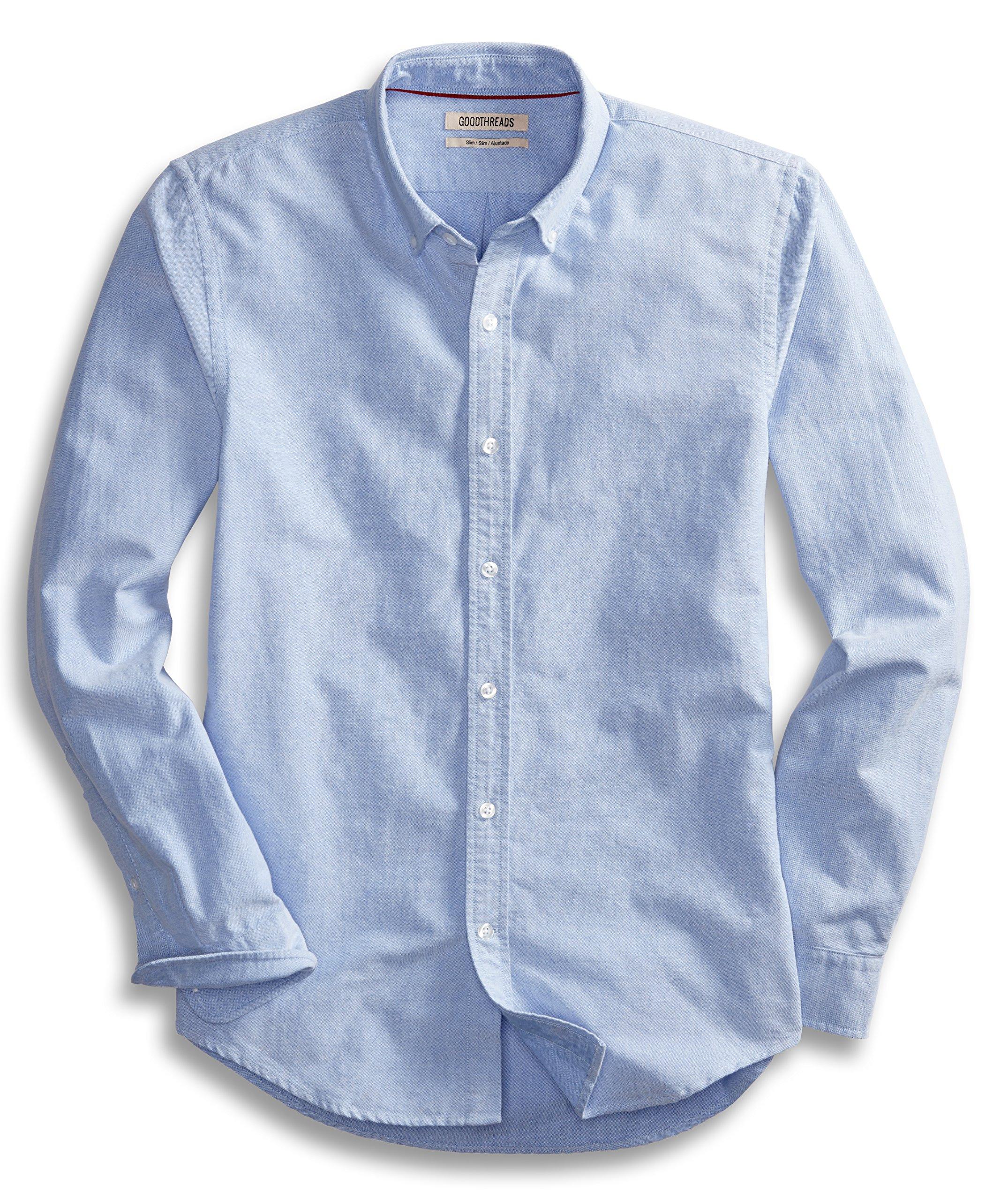 Goodthreads Men's Slim-Fit Long-Sleeve Solid Oxford Shirt, Blue, Medium by Goodthreads