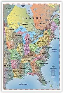 Amazoncom Home Comforts Laminated Map Map Usa Canada East - Eastern-us-coast-map