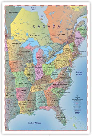 ProGeo Maps Trucker\'s Wall Map of EAST COAST Canada & United States ...