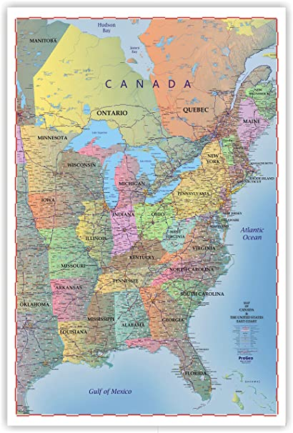 Map Of Usa Canada.Amazon Com Progeo Maps Trucker S Wall Map Of East Coast Canada
