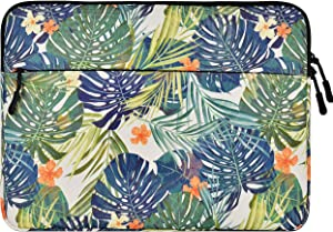 LuvCase Laptop Protective Sleeve Canvas Case Bag with Pocket Compatible MacBook Pro 15-16 Inch, A2141/A1707/A1990/A1398/A1286, Chromebook, Acer, Dell, Lenovo Thinkpad HP Notebook (Palm Leaves Lilies)