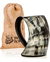Original Viking Drinking Horn Cup Tankard By Thor Horn  Complete W/ Authentic Medieval Burlap Gift Sack  Drink Beer Like A True Viking W/ Our Horn Mug