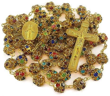 1e9a97d5289f Nazareth Market Store Granos de circón Color Oro Rosario católico Collar  Medalla Milagrosa Cruz