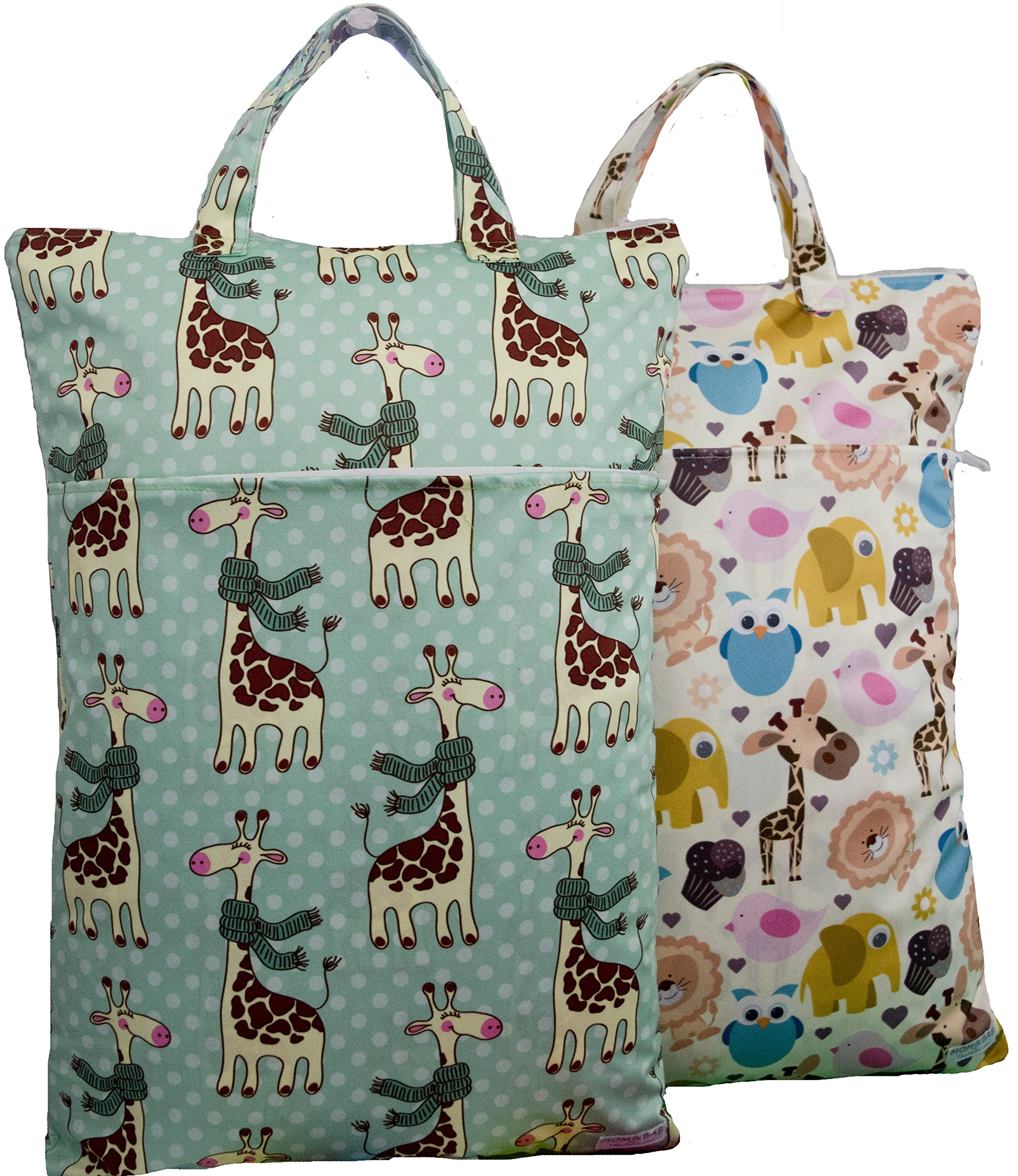 """2 Odor-Locking Wet Dry Bags - 12.5"""" Wide X 18"""" High   Double Compartment    Masks Odors  Fits 10 Diapers   Uses: Cloth Diapers, Daycare, Swimwear, Gym, Travel, Soiled Baby Items (Animals & Giraffe)"""