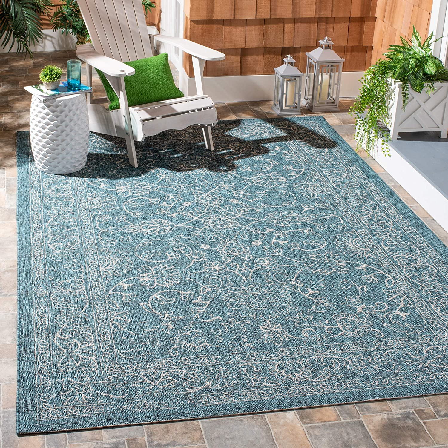 Safavieh Courtyard Turquoise Outdoor Area Rug