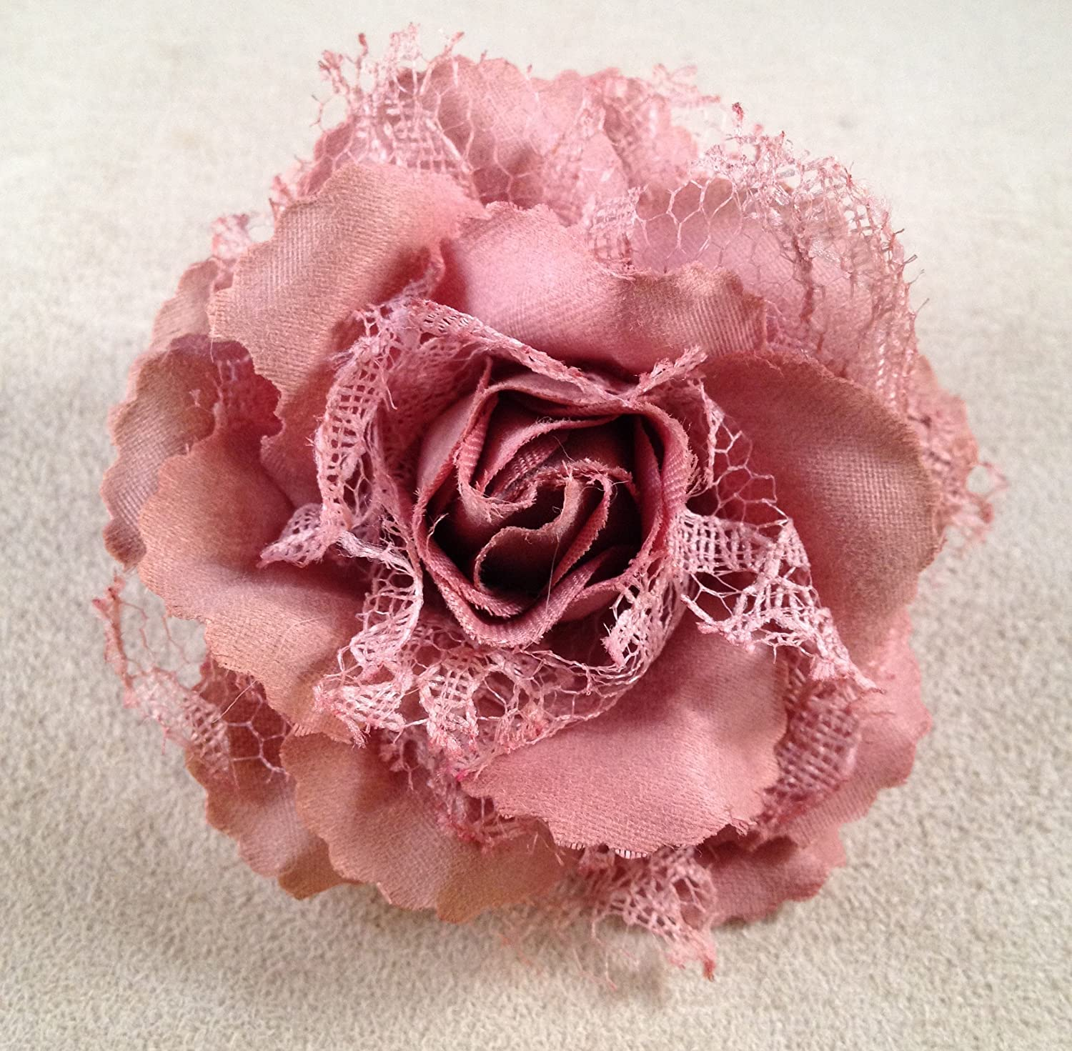 Amazon Mini Lacy Rose Artificial Flower Hair Clippin Brooch
