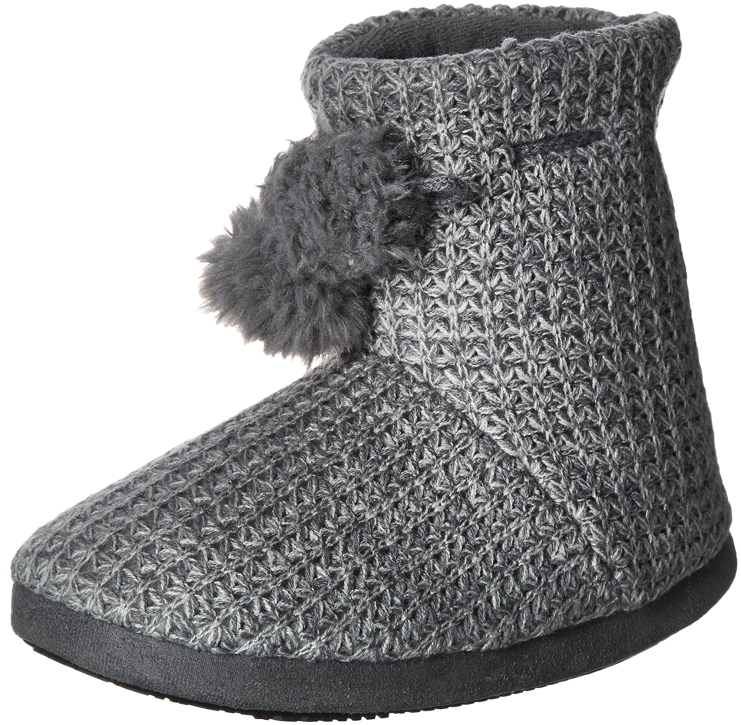 ISOTONER Women's Shaker Knit Myrna Boot Slipper, Charcoal Heather, Large/8-9 M US