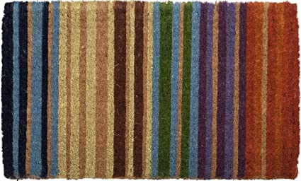 Rainbow Stripe Hand Made Extra Thick Coir Doormat 18u0026quot; ...