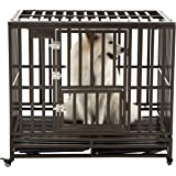 SMONTER Heavy Duty Strong Metal Dog Cage Pet Kennel Crate Playpen with Wheels, I Shape