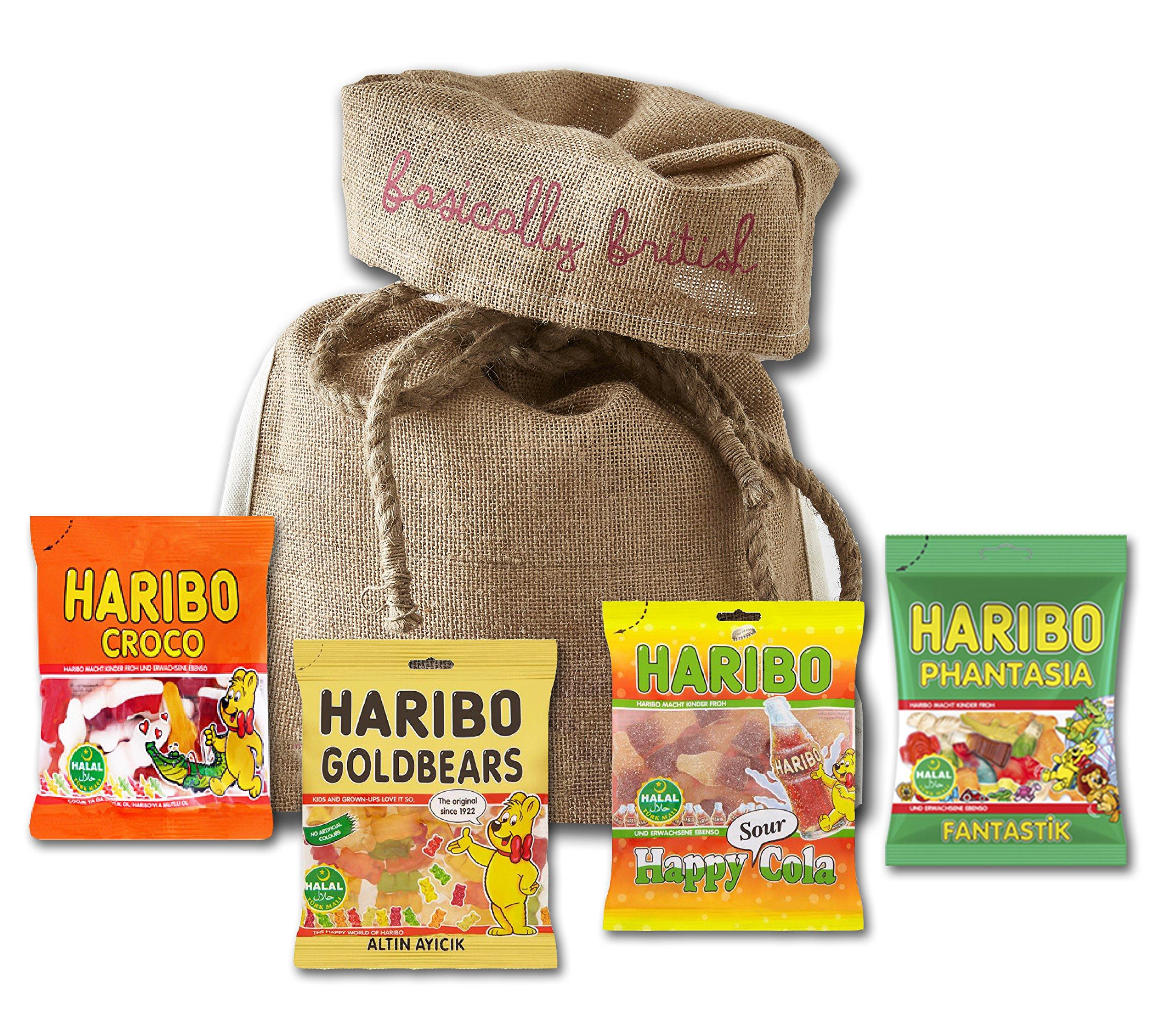 Haribo Halal Gummy Bears By The Yummy Palette Eid Mubarak Gifts Halal Haribo Cola Halal Haribo Gold Bears In Basically British Jute Gift Bag Buy Online In Bermuda At Bermuda Desertcart Com Productid