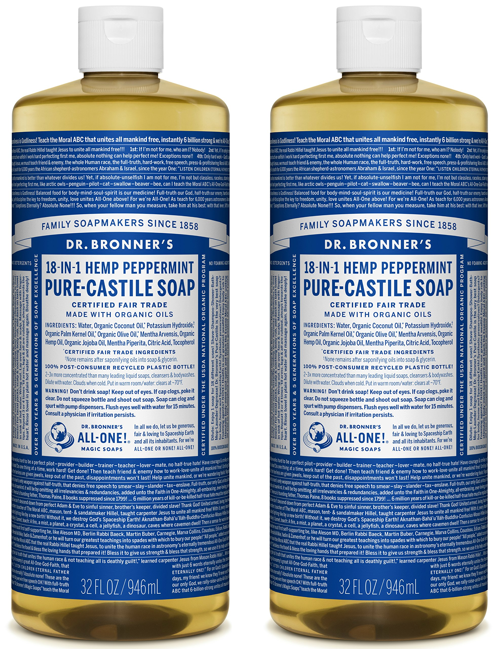 Dr. Bronner's Pure-Castile Soap - Peppermint, 32 oz (Pack of 2)