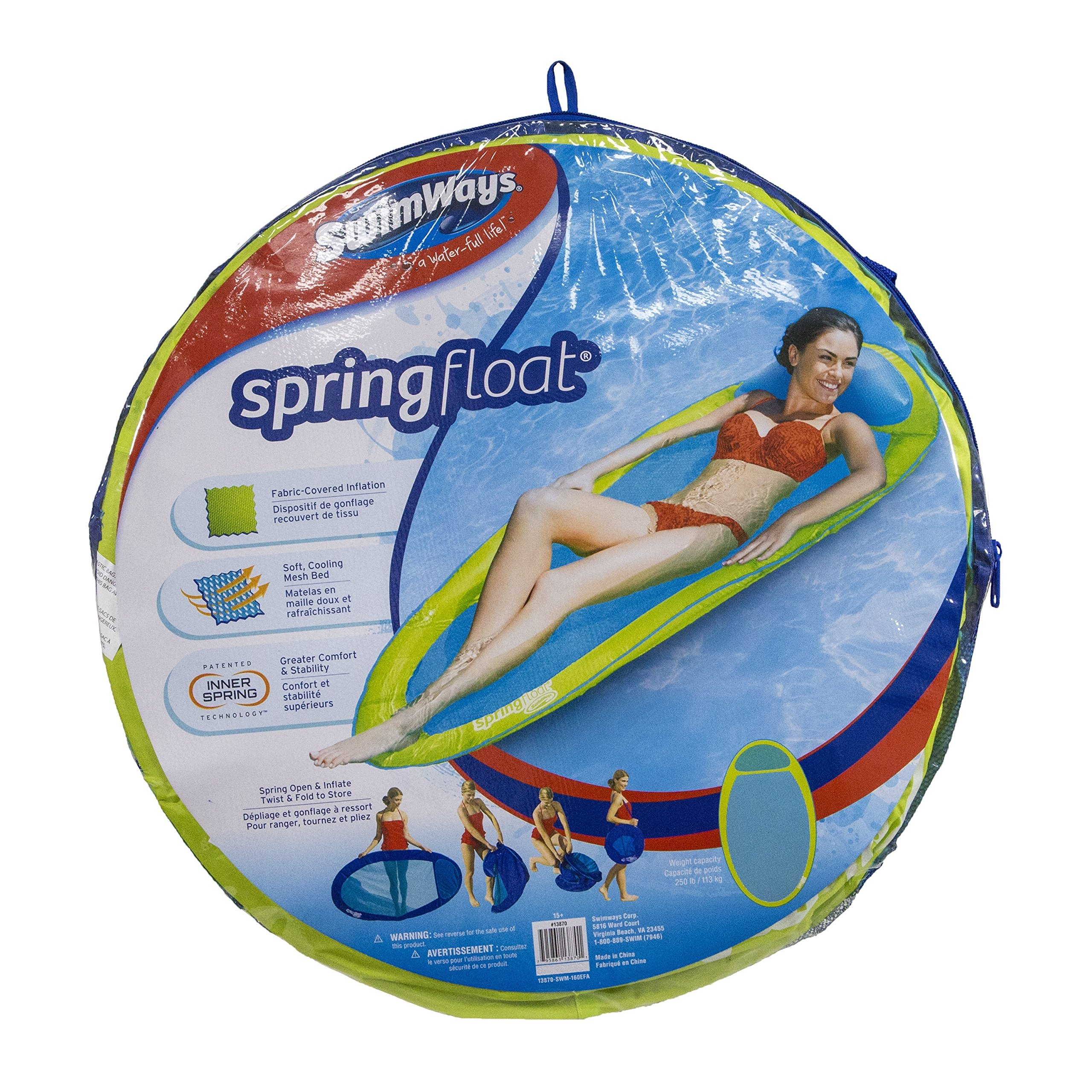 SwimWays Original Spring Float - Floating Swim Hammock for Pool or Lake - Lime/Light Blue by SwimWays (Image #5)