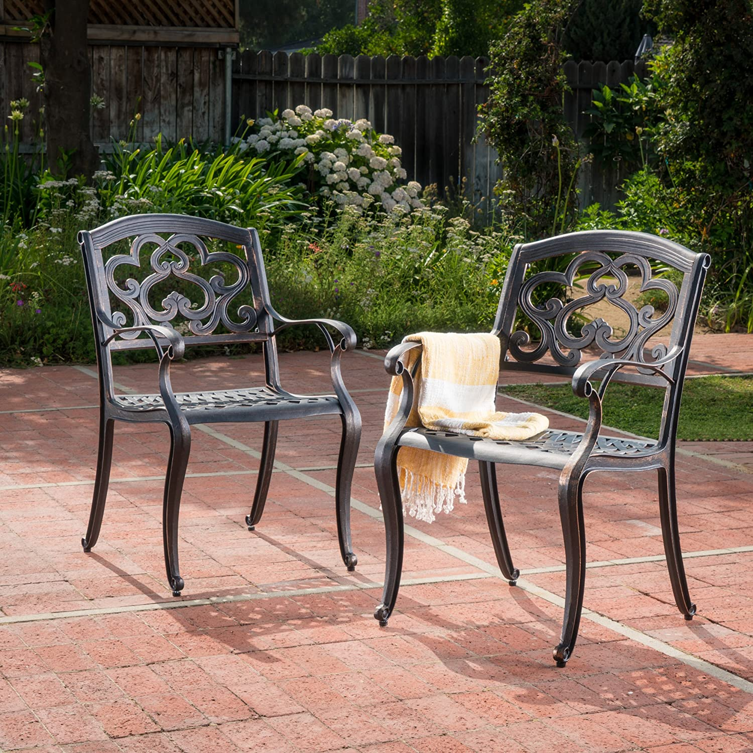 Christopher Knight Home 300680 Augusta Outdoor Cast Aluminum Dining Chairs Set of 2 , Patina Copper