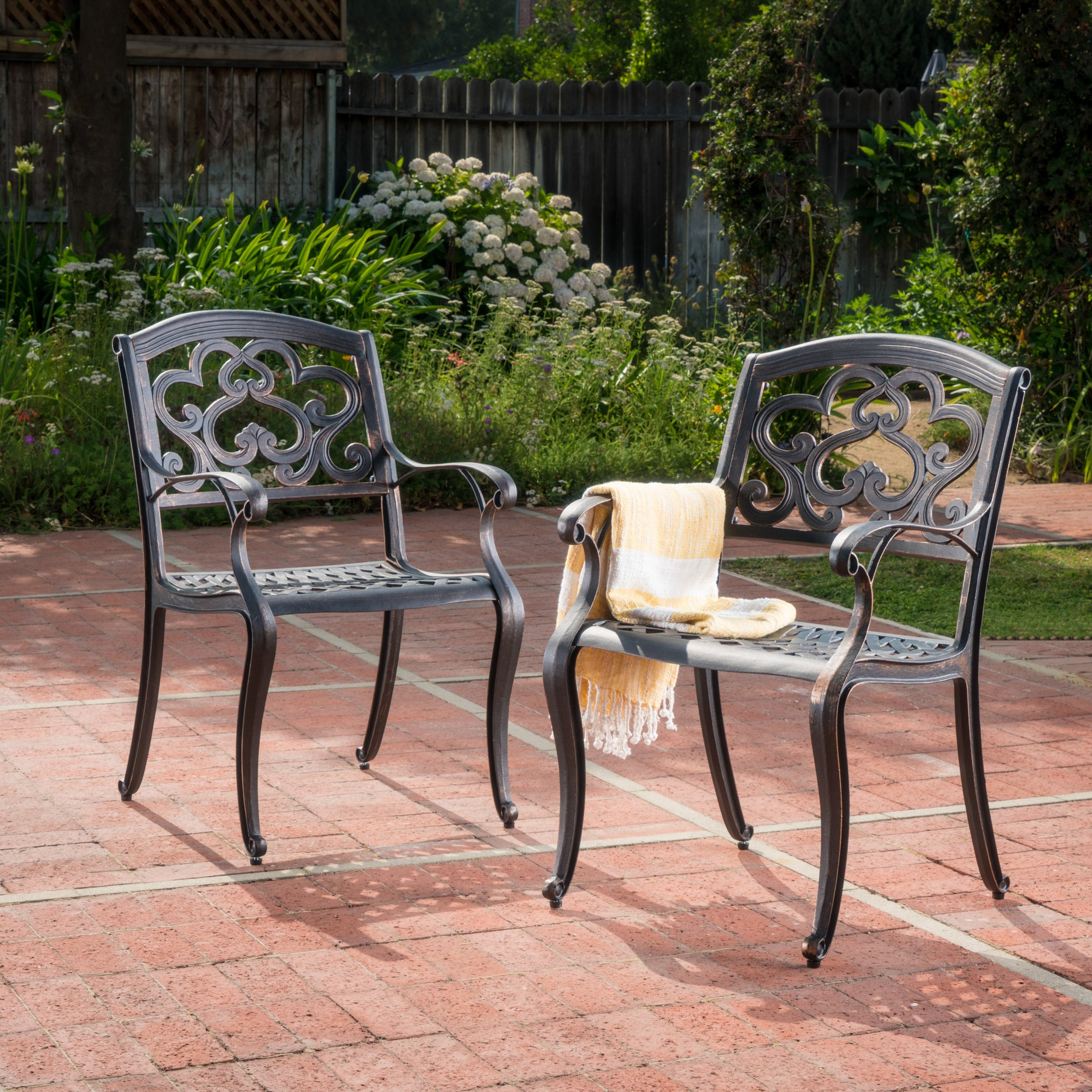 Christopher Knight Home 300680 Augusta Outdoor Cast Aluminum Dining Chairs (Set of 2), Patina Copper