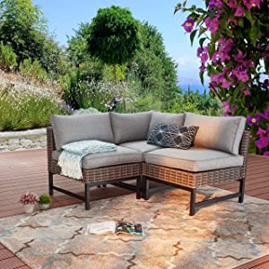 LOKATSE HOME 3 Piece Conversation Set Wicker Patio Furniture Sectional Include 1 Corner Sofa and 2 Armless Chairs for Garden Poolside Deck Beach, Brown