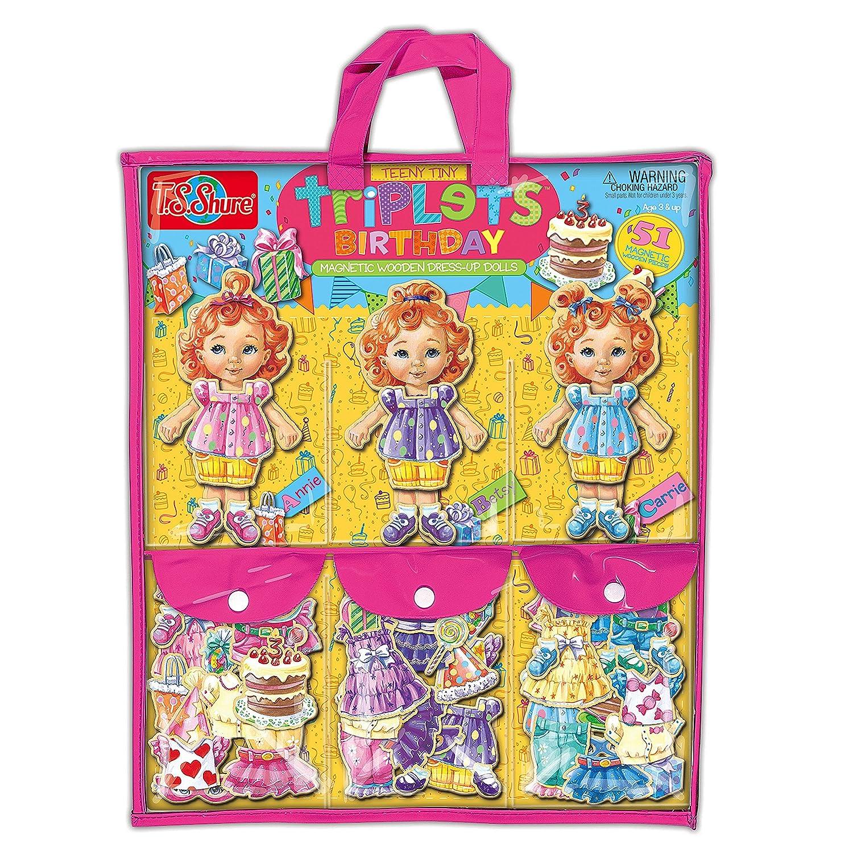 Reducción de precio T.S. Shure Teeny Tiny trillizos cumpleaños magnético de madera muñecas con pegatinas