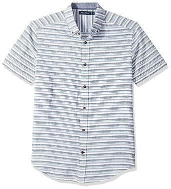 b0007da7d6 Amazon.com: Nautica Men's Short SLV Classic Fit Linen Blend Striped Button  Down Shirt, Chambray Ashore, Medium: Clothing