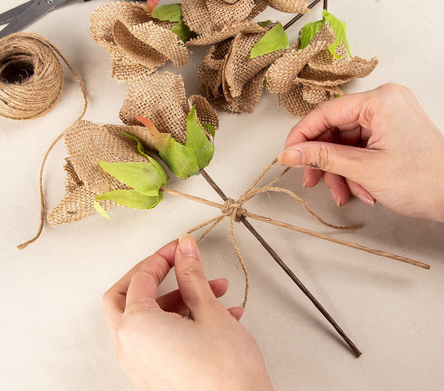 Genie Crafts 6-Count Burlap Rose with Stem Jute Flower Picks for Flower Arrangements DIY Crafts and Decor Wedding 2.5 x 9.75 Inches
