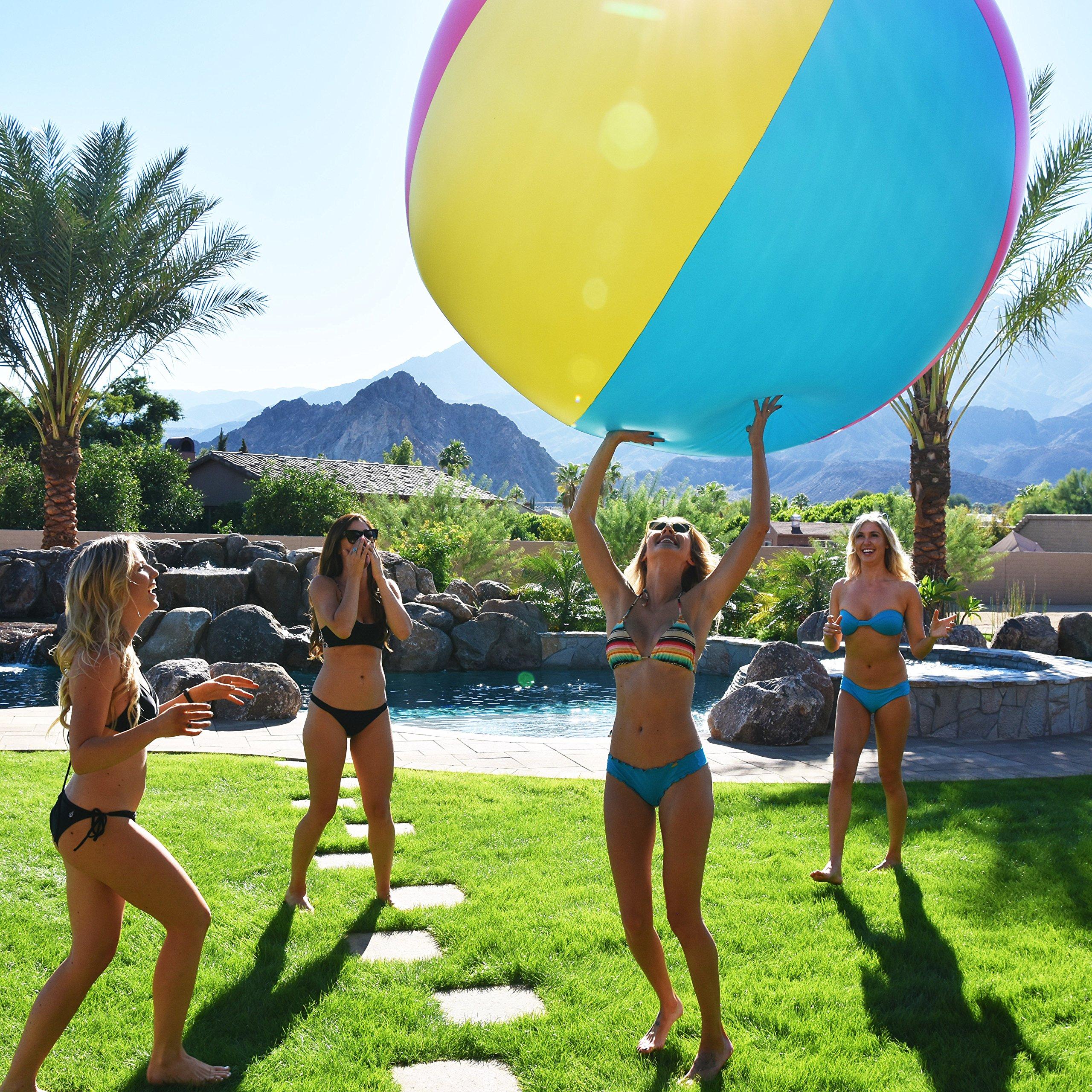 Giant Backyard Games: 6' Giant Inflatable Beach Ball For Summer Beach Backyard
