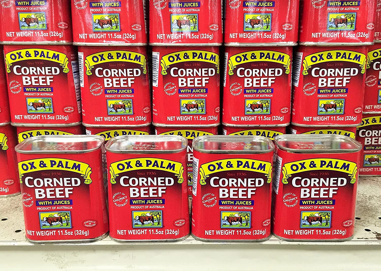 4 Packs Ox & Palm Corned Beef with Juices 11.5oz Ea