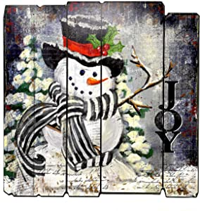 Transpac Snowman Christmas Decor Large Wood Sign for Indoor Wall Room Decoration 15.75' x 15.75