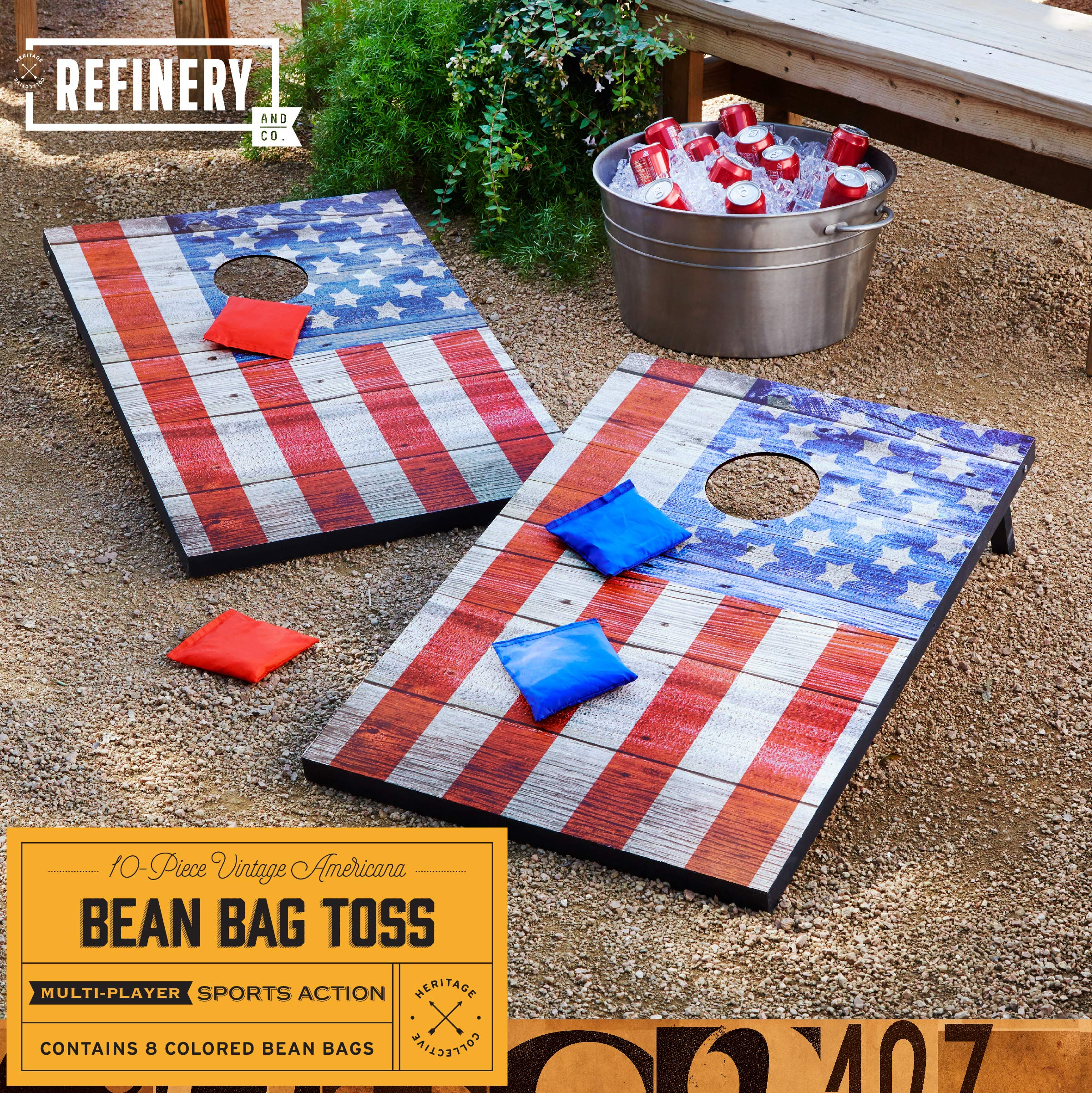 Refinery Vintage Americana Deluxe Bean Bag Toss Set, Complete Cornhole Game, Best Picnic & BBQ Target Sport, 2 Folding Targets, 8 Premium Bean Bags in 2 Colors for Team Play, Easy Storage, Family Fun by Refinery (Image #2)