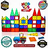 Magnetic Building Blocks, 100+10 Extra Magnetic Tiles, 3D Magnet Building Toys Set, Educational Construction Magnetic for Kids, Varied Shapes in Rainbow Colors, Strong Metallic Rivets, Plus Wheels&Bag