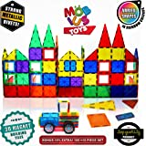 Magnetic Building Blocks, 100+10 Extra Pieces of 3D Magnet Building Tiles, Educational Construction Magnetic Toy for Kids, Varied Shapes in Rainbow Colors, Strong Metallic Rivets, Plus Wheels & Bag