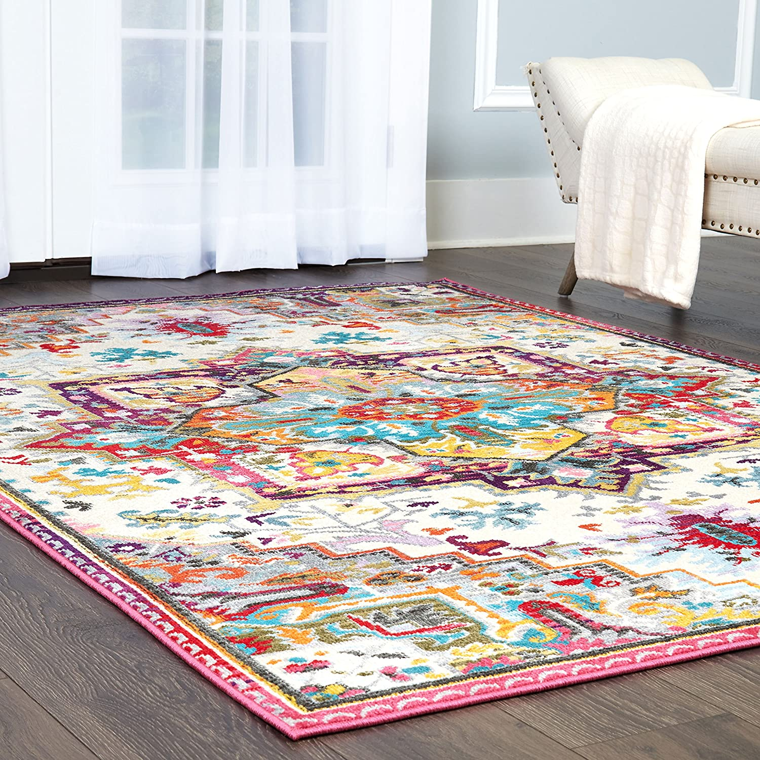 Clearance Home Dynamix Melody Tiana Modern Area Rug, Blue/Pink/Ivory 8'x10'