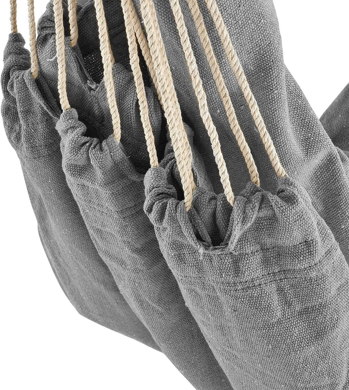 casa.pro Amaca con Supporto 205 x 110 x 110 cm Poltrona Sospesa con Telaio Metallo Tessuto Nero Beige /®