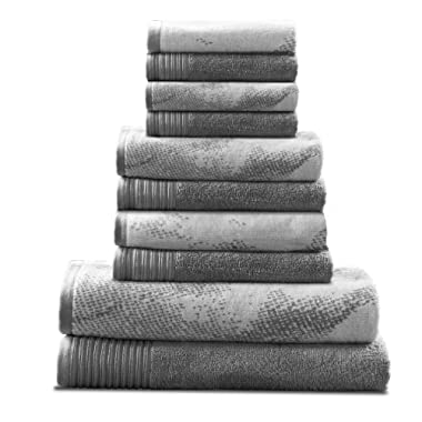 Superior 100% Cotton Marble Effect 10-Piece Towel Set, Solid and Luxurious Marble Pattern Jacquard, Super Soft, Plush and Absorbent, 2 Bath Towels, 4 Hand Towels, 4 Wash Cloths - Grey