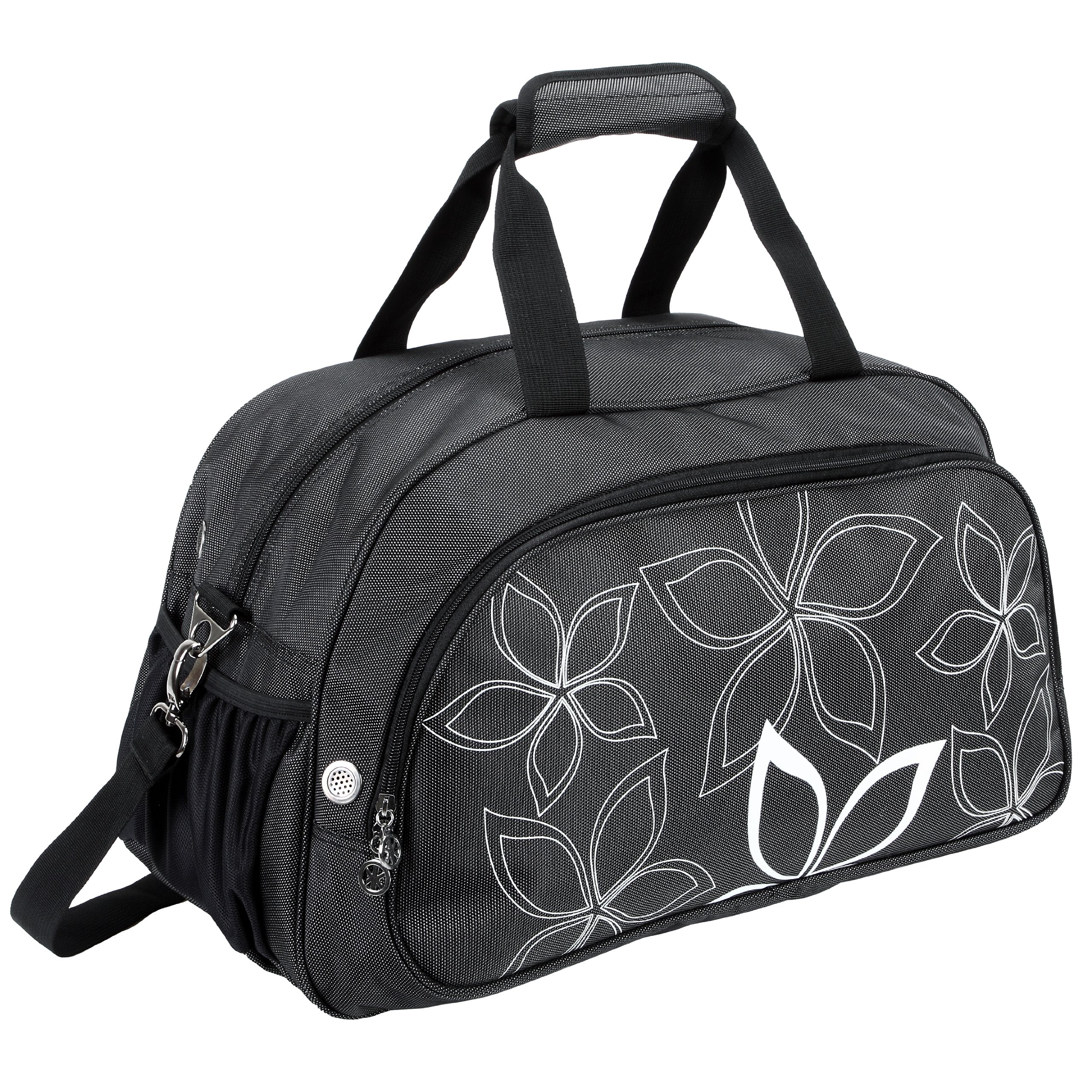 20'' Fashionable Flowers Pattern Black Sports Gym Tote Bag Travel Carryon