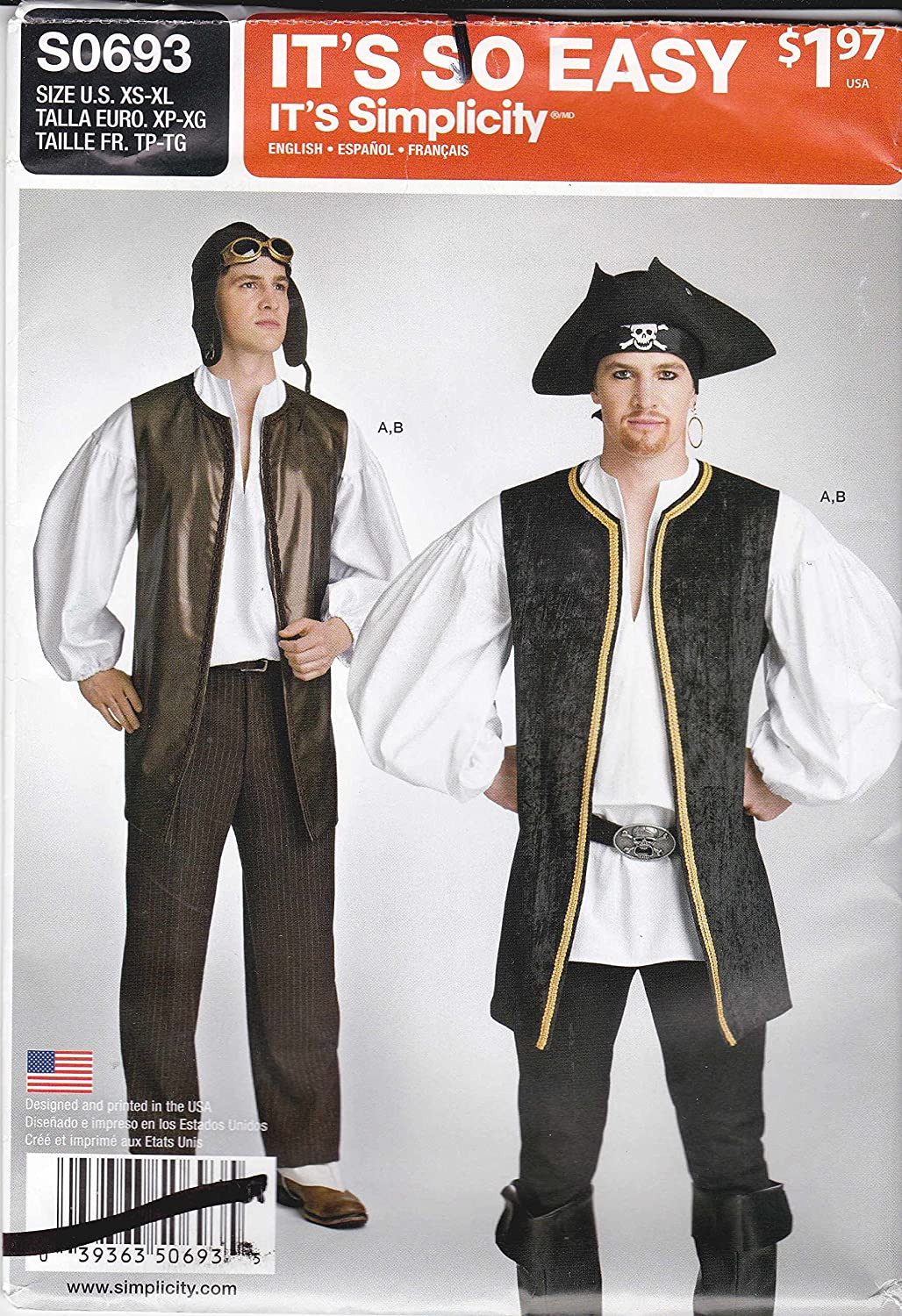 Simplicity Sewing Pattern S0693 0693 Mens Sizes XS-XL Easy Puffy Pirate Shirt Vest Costume Amazon.ca Home u0026 Kitchen  sc 1 st  Amazon.ca & Simplicity Sewing Pattern S0693 0693 Mens Sizes XS-XL Easy Puffy ...