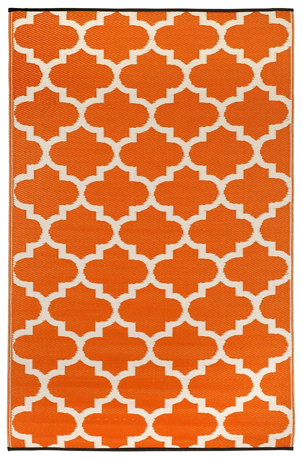 Fab Habitat Tangier-Carrot and White (3-Feetx5-Feet) Rug 22099179900