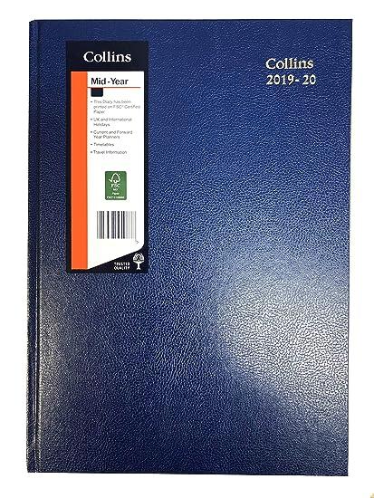 Collins 2019-2020 - Agenda de escritorio (A4, vista semanal, 40 m), color azul