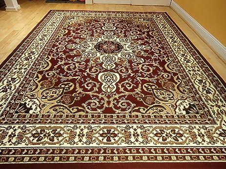 Area Rug Traditional Persian Design 5x7 Rug Burgundy Rug Cream Beige 5x8  Red Carpet Living Room