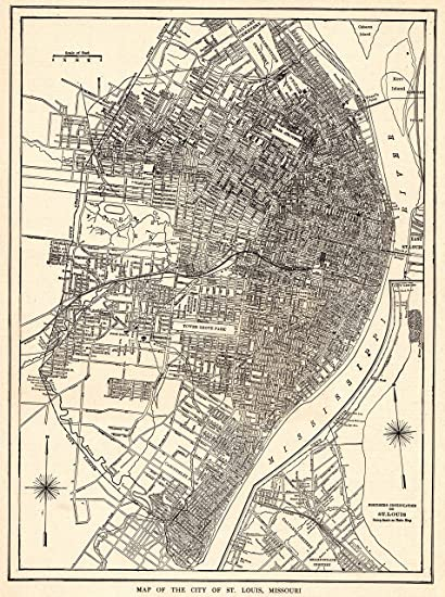 Amazon.com: 1929 Antique St Louis Map Original Vintage Map of St ...