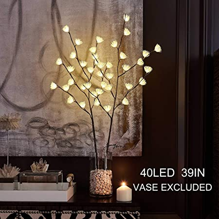 Hairui Lighted Brown Willow Twig Branch with Icy Flowers 39in 40 LED  Battery Operated and Plug in for Christmas Home Decoration Indoor Outdoor  Use ...