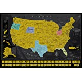 Scratch Off Map of The United States - USA Travel Tracker Map - Scratch Tools & Memory Stickers Included - Perfect Travel Gift - 24 x 17 USA Scratch Off Wall Map
