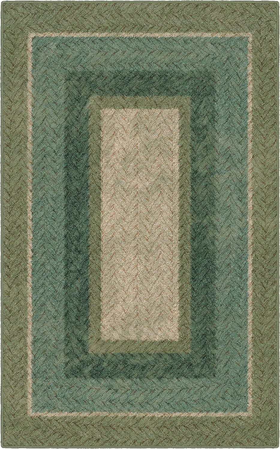 "Brumlow Mills Muted Braided Print Home Indoor Area Rug for Living Room Decor, Dining Room, Kitchen Rug, or Bedroom, 2'6"" x 3'10"", Green"