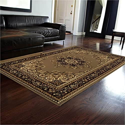 Superior Leopold Collection 2 7 x 8 Runner Rug, Attractive Rug with Jute Backing, Durable and Beautiful Woven Structure, Oriental Medallion Rug with Detailed Border