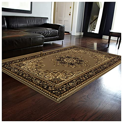 Superior Leopold Collection 4 x 6 Area Rug, Attractive Rug with Jute Backing, Durable and Beautiful Woven Structure, Oriental Medallion Rug with Detailed Border
