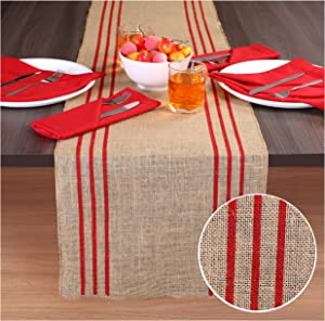 Ramanta Home 2-Pack Rustic Farmhouse Stripe Burlap Jute Table Runners 14x72 Natural with Red Stripe